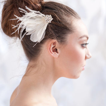 Feather fascinator, feather hair comb, headpiece - style 1109