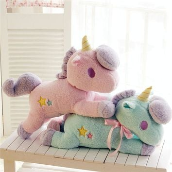 55cm Unicorn Plush Toy Cute Animal Tissue Cover Box Soft Stuffed Plush Dolls KidsToy Kawaii Figure Fluffy Gift For Children