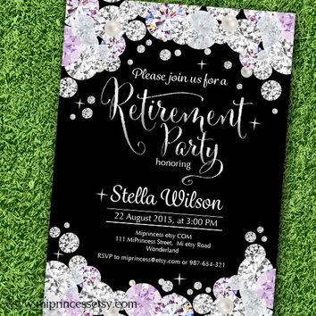 Retirement Invitations,  Retirement party  Retirement Celebration black Rhinestone , diamond theme - card 592