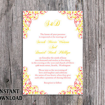 DIY Wedding Invitation Template Editable Word File Instant Download Printable Coral Invitation Pink Yellow Invitation Elegant Invitation