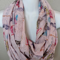 Paris Postcard Crinkle Chiffon Infinity Scarf French and Pink with Shimmer Scarf Womens Fashion Accessories Fall Scarves