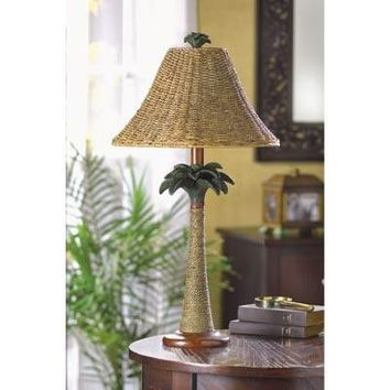 Palm Tree Rattan Table Lamp