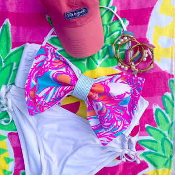 Lilly Pulitzer Fabric Bikini Bow in Feeling Tanked / Made for Bandeaus (Bikini Top Not Included)