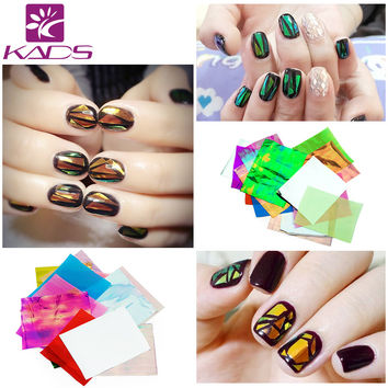 KADS 21 Colors set Broken Glass Pieces Mirror Foil Tips Stencil Decal Nail Art Sticker Cute Tools Foils Shiny Laser Nail Sticker