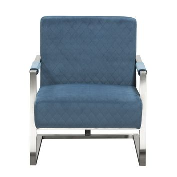 Studio Accent Chair in Royal Blue Velvet with Diamond Tuft and Stainless Frame