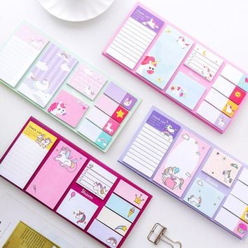 Cartoon Unicorn Dream memo pad planner sticky notes paper sticker notepad kawaii stationery pepalaria office school supplies