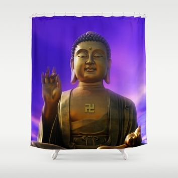 Buddha Blue Dawn Shower Curtain by Inspired Images