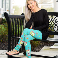 ULTRA SOFT PRINT LEGGINGS SUGAR SKULL IN TURQUOISE
