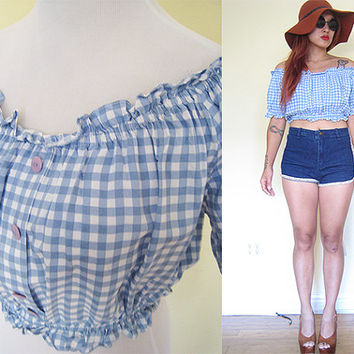 Vintage gingham baby blue pastel plaid smock off shoulder cropped top
