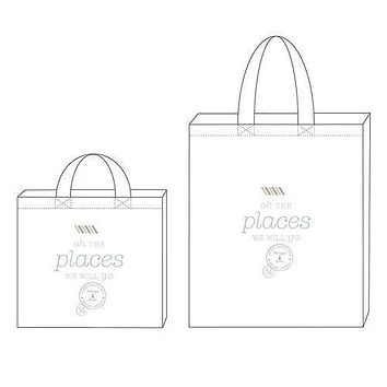 Wanderlust Oh The Places We Will Go Personalized Tote Bag Tote Bag with Gussets (Pack of 1)