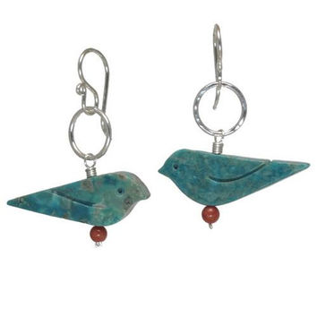 Red Coral and Turquoise Rose Gold Earrings