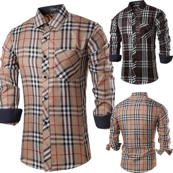 Newest style Western fashion design classic plaided men's shirts M-2XL full sleeve young boys casual shirt Slim fit with pocket