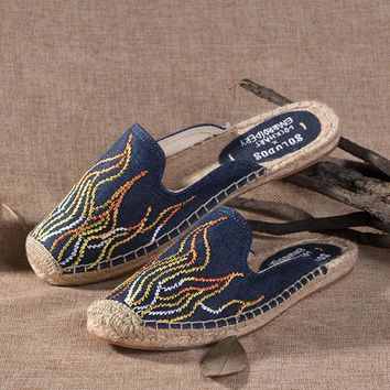 Soludos Blue Flame Embroidery Slipper Mule Navy - Best Deal Online
