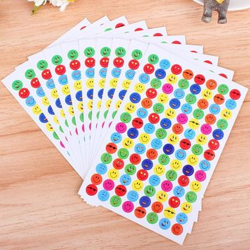 10 Sheets/pack Stickers Children Smiley Faces Reward Stickers School Teacher Merit Praise New Free Shipping