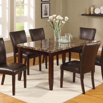 7 pc Ferrara brown wood finish faux marble top dining table set