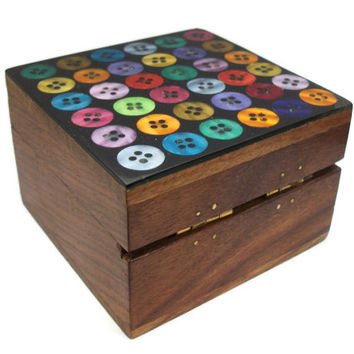 Small Vintage Wooden Box with Colorful Button Inlay Made in India - Oxfam Fair Trade Handmade Handcrafted Wood Trinket Box Hinged Lid