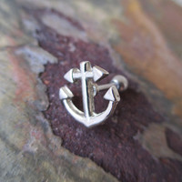 "Silver Ship Anchor Cartilage Earring Upper Piercing  Ear Piercing Helix Piercing Body Jewelry 16G 1/4"" (6.4mm)"