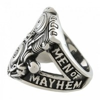 Inox Sons Of Anarchy Men Of Mayhem Stainless Steel Ring - V-Twin Engine Sz 12