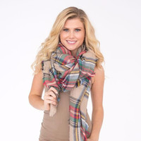 Red Multi colored plaid Blanket Scarf