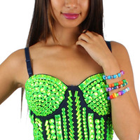 Green Lime Neon Rhinestone Rave Crop Top