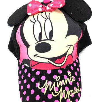 Disney Minnie Mouse Pink Baseball Cap Hat - Girls Toddler