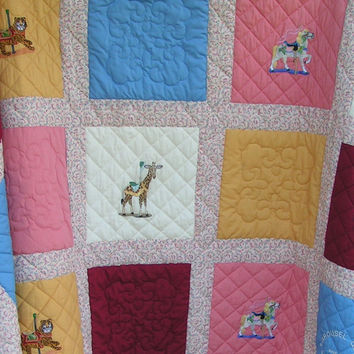 Child - Carousel - Animal - Circus - Bedding - Queen size - Bedspread - Carnival - Homemade - Merry go round - Kids - Embroidery - Gift