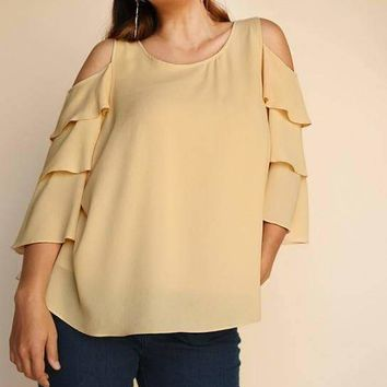 Tiered Ruffle Sleeve Open Shoulder Keyhole Top - Butter Yellow