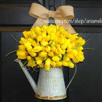 spring wreath Easter wreaths, front door wreaths decorations,yellow tulips summer wreaths