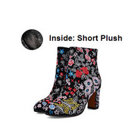 CHENSIR9 Genuine leather women shoes embroidered Square high heel ankle boots