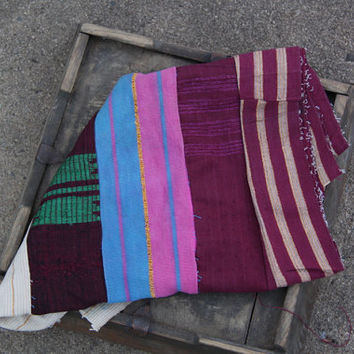 Radiant Orchid Vintage Aso Oke Tribal Textile (small) / Yoruba Tribe, Nigeria / Purple, Blue, White / Decor, Supplies, Wall Hanging, Fabric