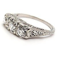 Antique Engagement Ring Old European Cut Diamond Three Stone Solid Platinum - WestonJewelry.com