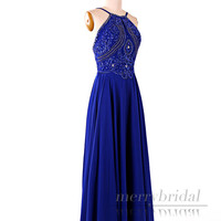 Stunning Royal Blue Beading Chiffon long prom dresses/Elegant open back long dress/Formal evening party dresses/Sexy women's dresses EM851