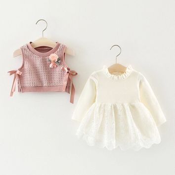 Toddler Infant Kid Baby Girl Princess Lace Dress Flower Vest 2PCS Clothes Set