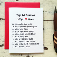 Funny Love Card - Top 10 Reasons Why I Love You - Funny Anniversary Card for Husband Wife Boyfriend or Girlfriend - 201404090733