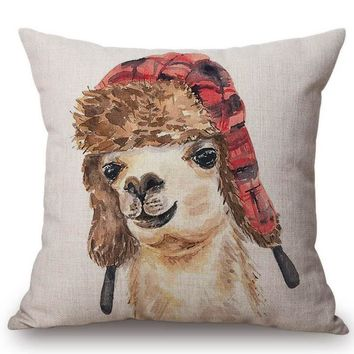 Cute Alpaca Home Decorative Sofa Throw Pillow Cover Polyester Linen Hand Painting Chair Cushion Cover