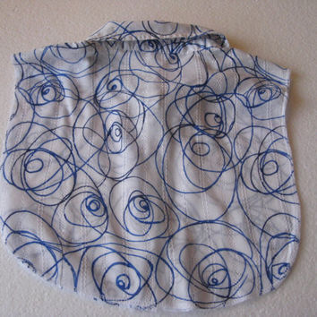Womens Upcycled Blue And White Cotton Blend Dickie Collar
