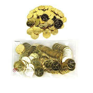 1000pcs/lot Halloween Toy Pirate Coins Game Lucky Clover Party Props Christmas Decoration Game Currency Pirate Treasure