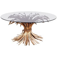 """French Gilt """"Sheaf of Wheat"""" Table in the Style of Coco Chanel"""