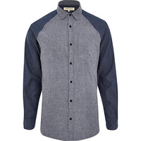 River Island MensBlue raglan sleeve color block shirt