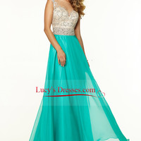 2015 Bateau Beaded Tulle Bodice A Line Prom Dress With Long Chiffon Skirt LCPST37X9T - LucysDresses.com