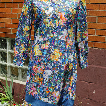 Vintage 70s Dress Wide Pointed Collar, Multi-Color Butterflies, Paint Abstract Print. Crepe, Long sleeve, Psychedelic 60s,