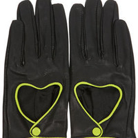 Heart Cutout Leather Gloves - Winter Accessories  - Accessories