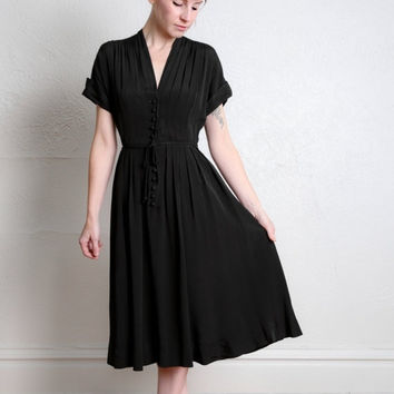 ON SALE 1940s Black Dress