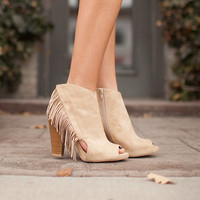 Side Fringed Open Toe Booties