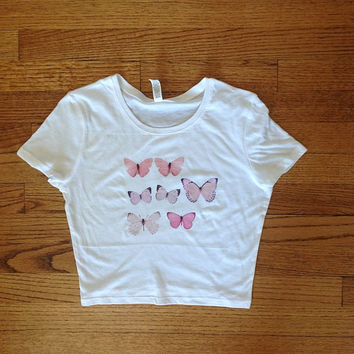 butterflies CROPPED tshirt unisex clothing brandy melville inspired graphic tee women's clothing brandy melville