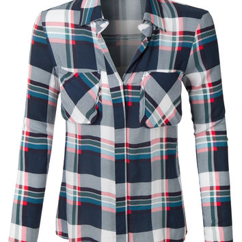 LE3NO Womens Loose Plaid Button Down Shirt with Roll Up Sleeves (CLEARANCE)