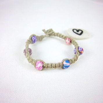 Pink Beaded Polymer Clay Hemp Bracelet Upcycled Natural Hippe Boho Jewelry