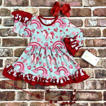 RTS Ruffled Unicorn Rainbow Dress D99