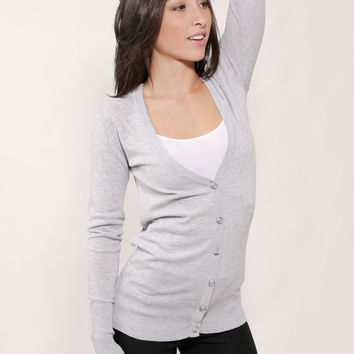 Cute Button Up Sweater-Grey Long Sleeve Sweater- Women's Cardigan