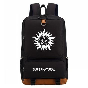 Student Backpack Children WISHOT TV Show supernatural SPN backpack casual backpack Men women's Student School Bags travel Shoulder Bag Laptop Bags AT_49_3